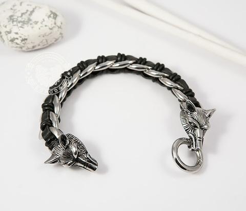BM379 Мужской браслет с волками из натуральной кожи и стали (20 см)