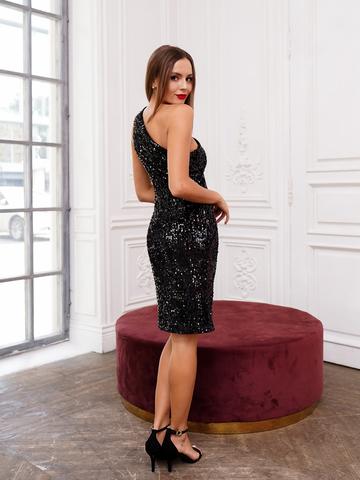 Платье черное на одно плечо пайетки