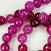 Бусина Агат (тониров), шарик с огранкой, цвет - фуксия, 10 мм, нить
