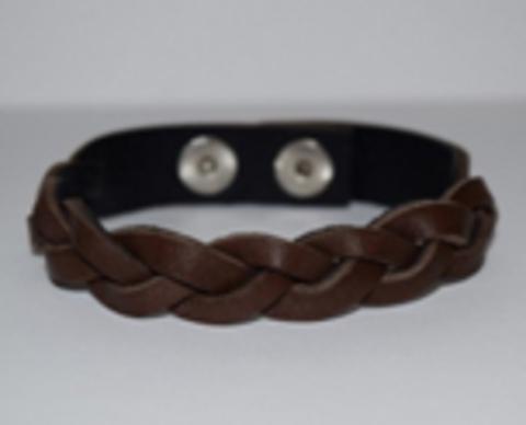 Кожаный коричневый браслет косичка TRONIN N-39BR