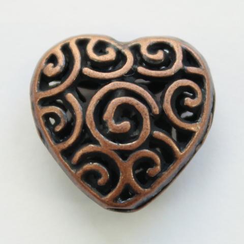 """Бусина металлическая """"Сердце в завитках"""" 16х15 мм (цвет - античная медь)"""