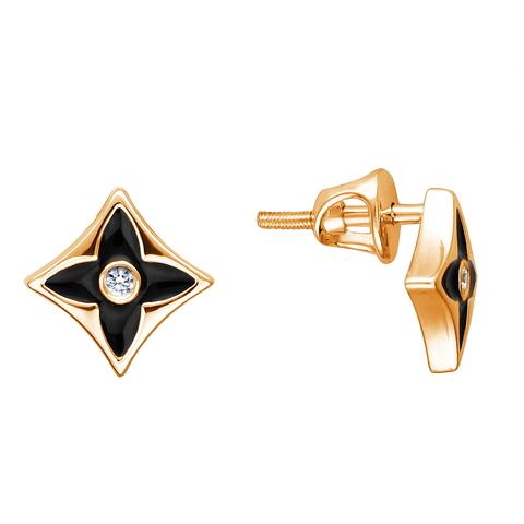 01С1112959Э- Серьги гвоздики из золота 585 пробы с черной эмалью в стиле LV