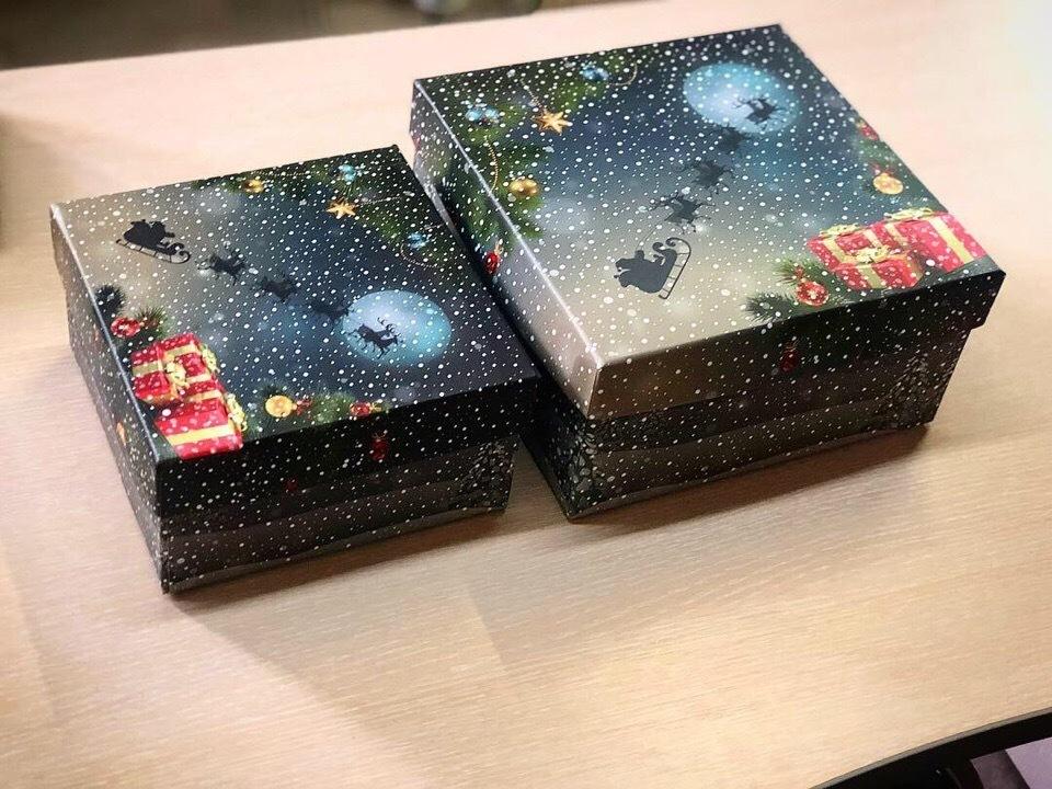 Квадратный набор новогодний с оленями
