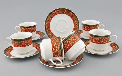 Набор чашек высоких с блюдцами 0,20 л 6 штук Сабина Leander