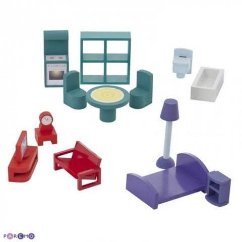 Большой домик Paremo из дерева для кукол Милана с 15 предметами мебели PD115-01