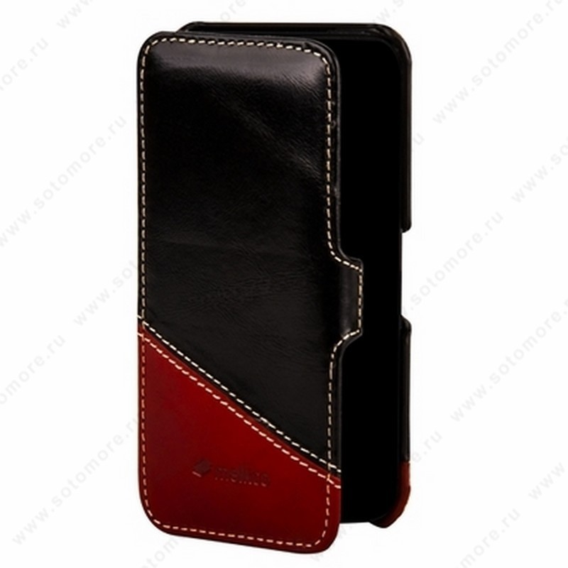 Чехол-книжка Melkco для iPhone SE/ 5s/ 5C/ 5 Leather Case Booka Type Mix and Match Series (Vintage Black/ Vintage Red)