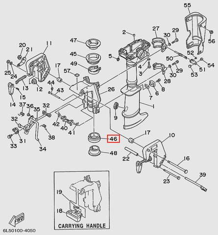 Втулка поворотная нижняя  для лодочного мотора T3S SEA-PRO (15-46)
