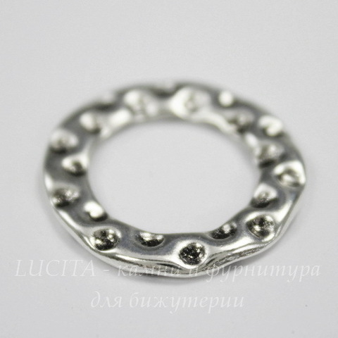 Коннектор - кольцо с узором 24х22 мм (цвет - античное серебро)