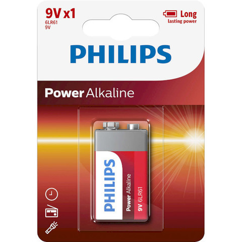 Батарейки Philips Power Alkaline 6LR61, крона 9V (1/12) BL