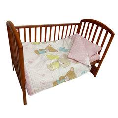 Папитто. Комплект постельного белья с простыней на резинке Игрушки из перкаля, розовый