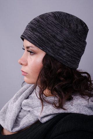 Фэшн. Молодёжные женские шапки. Графит ангора.