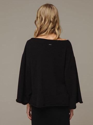 Женский черный джемпер свободного кроя из 100% кашемира - фото 3