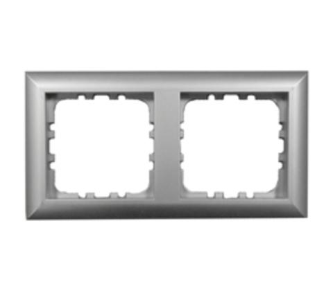 Рамка на 2 поста. Цвет Серебристый металлик. LK Studio LK60 (ЛК Студио ЛК60). 864203