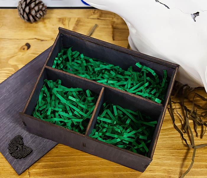 BOX245-1 Деревянная подарочная коробка с тремя отделениями, А6 (19*15*8,5 см) фото 05
