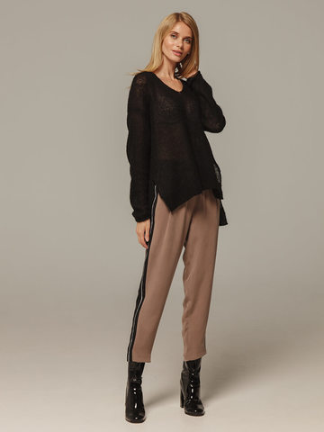 Женский черный джемпер с V-образным вырезом 100% мохер - фото 3