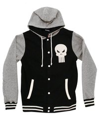 T-Shirt - Punisher Mens Black Letterman Hoodie