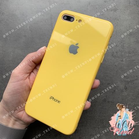 Чехол iPhone 7/8 Plus Glass Full color Case Logo /yellow/