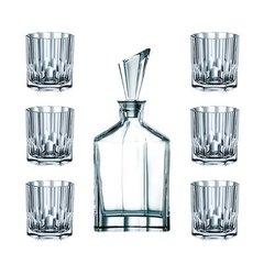 Набор  из 6 хрустальных стаканов для виски и декантера ASPEN