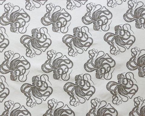 Детская портьерная ткань Осьминожки бежевый