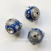 """Бусина """"Индонезийская"""" ручной работы синяя с прозрачными стразами, 18 мм"""
