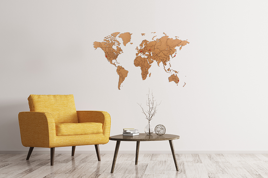 Карта мира World Map True Puzzle Brown 100 x 60 cm