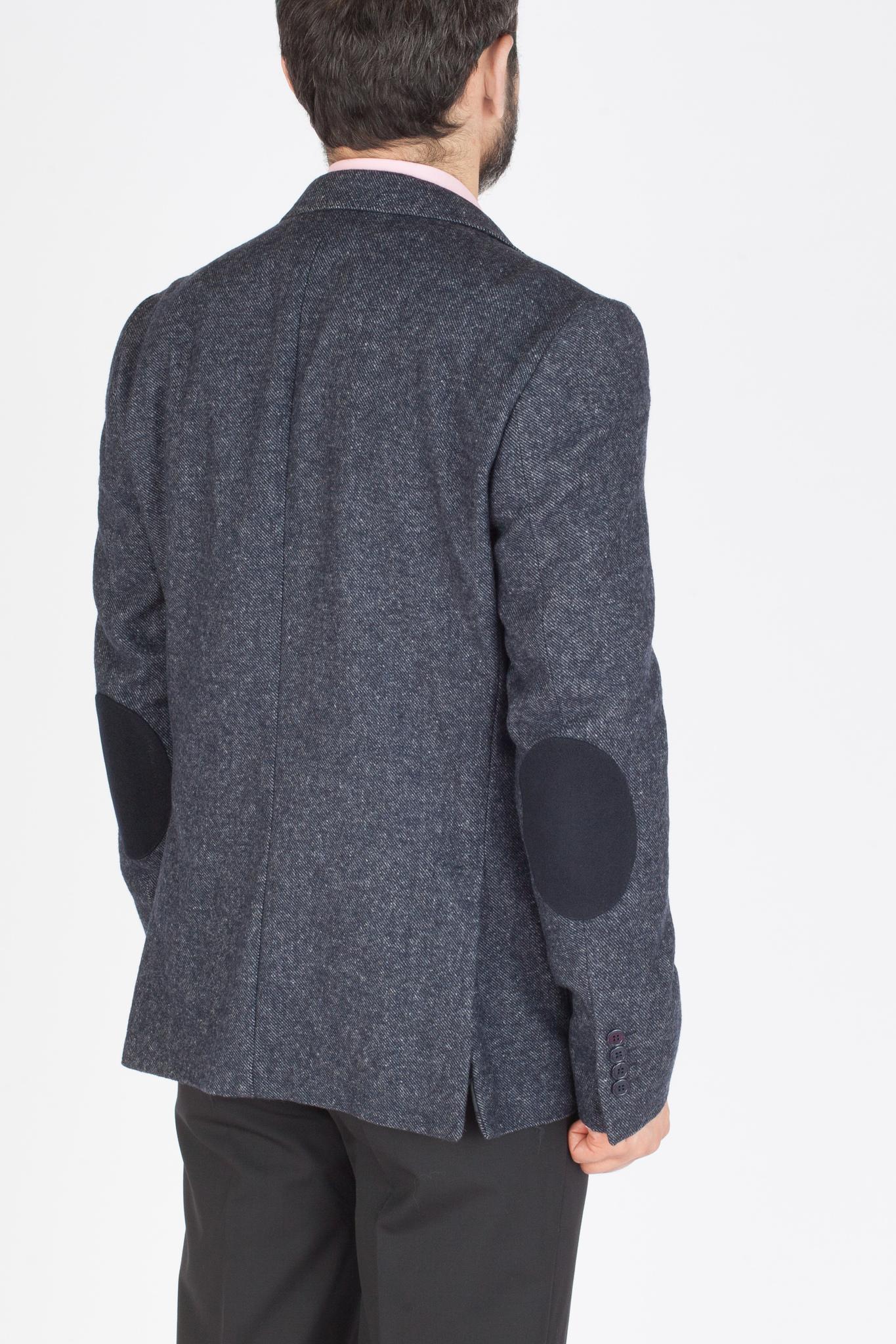Сине-серый пиджак «в рубчик» из шерсти и хлопка