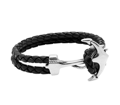 Браслет с якорем Nialaya Black Leather Bracelet with Silver Anchor из натуральной кожи