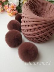 Помпоны, кролик 5-6 см, цвет Кофе, 2 шт