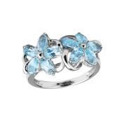 Серебряное кольцо с голубыми топазами