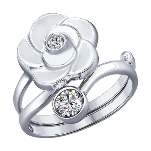 Кольцо-трансформер из серебра с фианитами