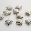 """Бусина металлическая - ромб """"Цветочек"""" 10х8 мм (цвет - античное серебро), 10 штук"""