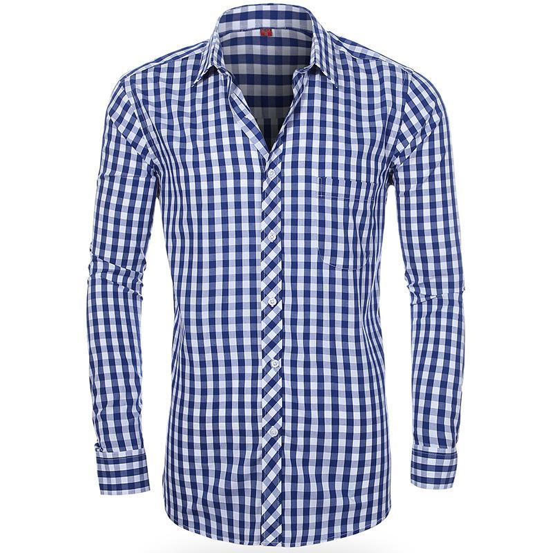 мужские рубашки Мужская рубашка в клетку с длинным рукавом Slim Fit 10122757258_692890940.jpg