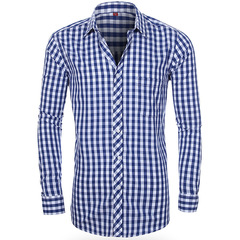 Мужская рубашка в клетку с длинным рукавом Slim Fit