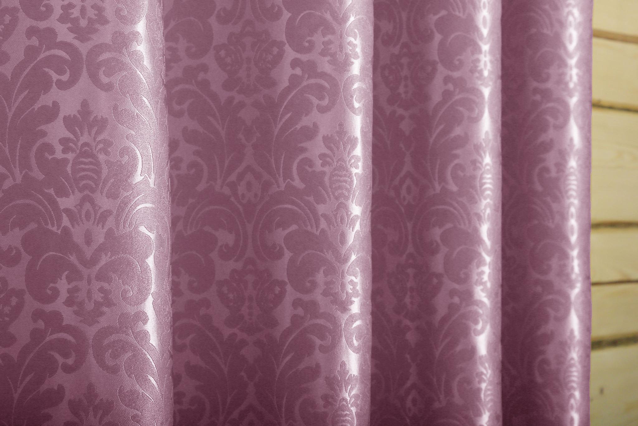 Венеция (сиреневый) .Готовая штора блэкаут жаккард с шинилом в стиле дамаск.