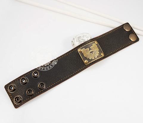 BL422-2 Фирменный широкий браслет &#34Борода&#34 из коричневой кожи, ручная работа