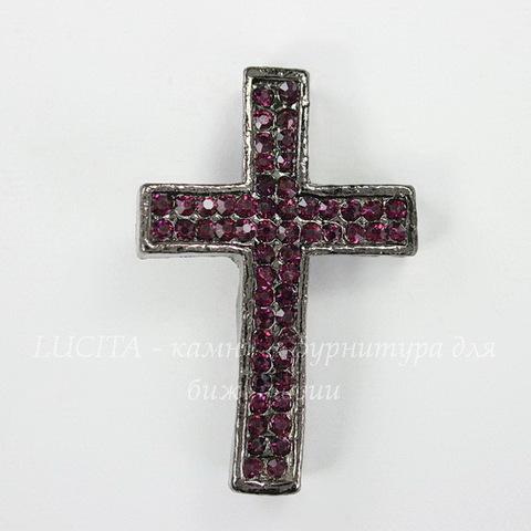 """Разделитель """"Крест"""" с фиолетовыми стразами 40х26х6 мм (цвет - черный никель)"""