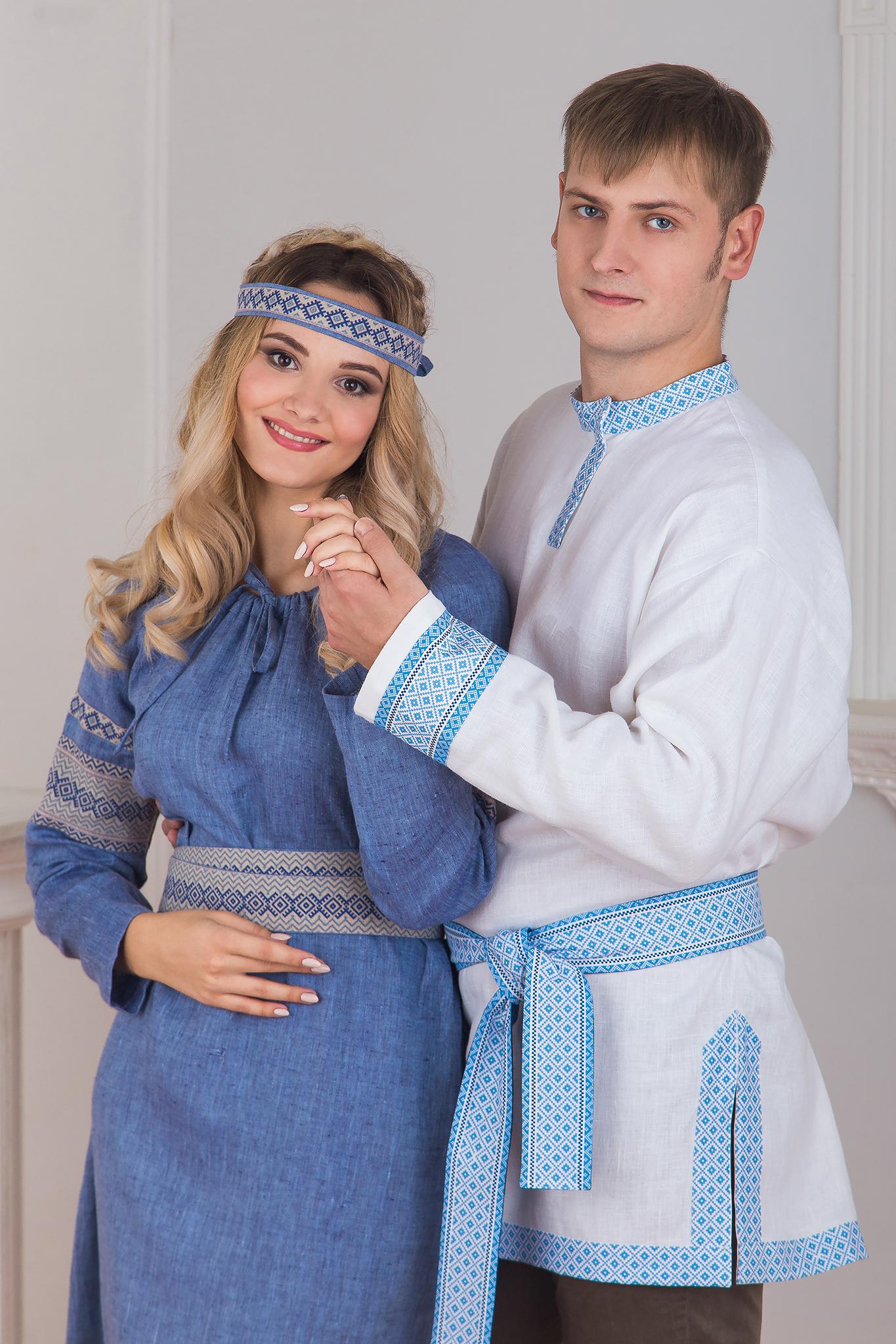 Платье Льняной дождь с мужчиной