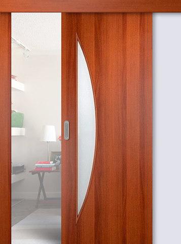Дверь раздвижная Сибирь Профиль Луна (С-6), цвет итальянский орех, остекленная