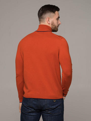 Orange male jumper made of 100% cashmere - фото 2