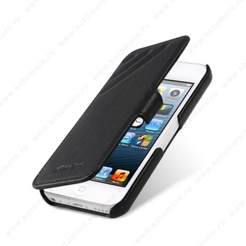 Чехол-книжка Melkco для iPhone SE/ 5s/ 5C/ 5 Leather Case Booka Type Craft Limited Edition Prime Dotta (Black Wax Leather)