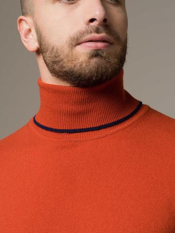 Orange male jumper made of 100% cashmere - фото 4