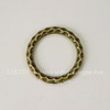 Коннектор - кольцо с узором 23 мм (цвет - античная бронза)