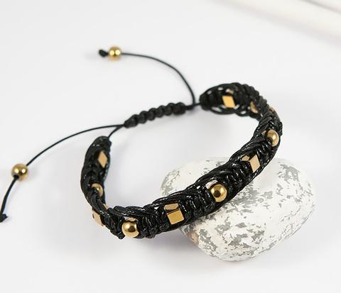 BS696-2 Мужской браслет шамбала из натурального камня золотистого цвета