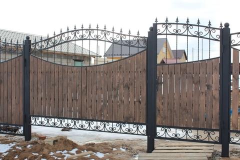 Ковано деревянный забор N-3