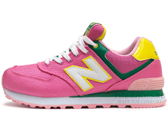 Кроссовки Женские New Balance 574 Pink Yellow Green White