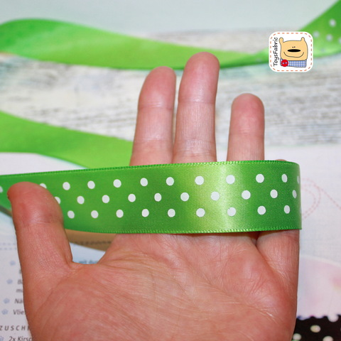Лента атласная 25мм (зеленая в горошек)  ЛАГ25-15 (90см)