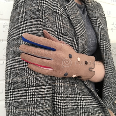 Женские перчатки с кнопками Коричневые