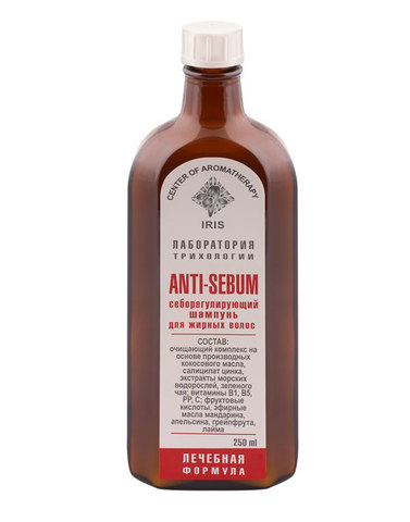 "Себорегулирующий шампунь для жирных волос ""ANTI-SEBUM"", 250 мл, ЦА ИРИС"