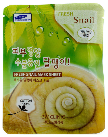 3W CLINIC Тканевая маска для лица с муцином улитки Fresh Snail Mask Sheet (23мл)