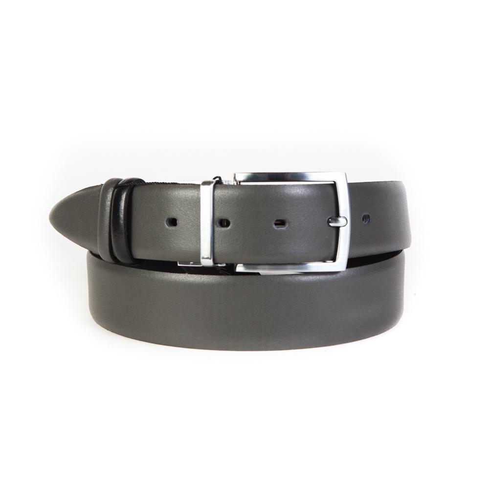 Ремень брючный двухсторонний 35 мм чёрный-серый Doublecity RP35-18-03